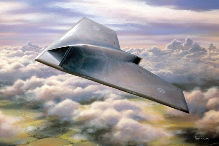 BAE Systems Taranis UCAV unmanned combat air vehicle prototype demonstrator attack UAV RPAS remotely piloted QuinetiQ Rolls Royce Smith Aerospace GE Aviation artists impression bezpilotné bojové lietadlo