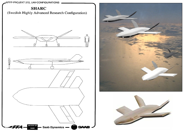SAAB SHARC Swedish Highly Advanced Research Configuration UCAV UCAS prototype proposal unmanned combat air vehicle system bezpilotné bojové lietadlo low observable stealth stealthy