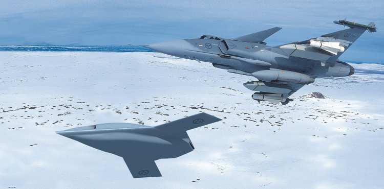 SAAB perspective UCAV UCAS demonstrator aircraft unmanned combat air vehicle stealth stealthy low observable technology