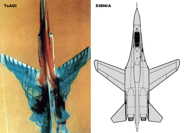 Sukhoi Suchoj Su-27 FSW forward swept wing TsAGI SIBNIA MiG-23 wind tunnel model