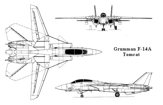 Grumman F-14A Tomcat US Navy fighter plane 3 view