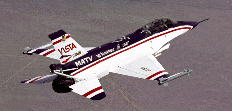 Lockheed Martin General Dynamics F-16 VISTA MATV General Electric multi axis thrust vectoring variable stability in-flight simulator test aircraft fighter nozzle USAF