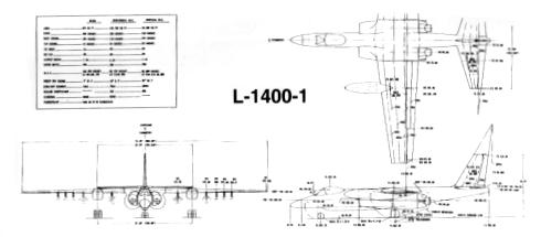Lockheed L-1400 A-X proposal attack plane