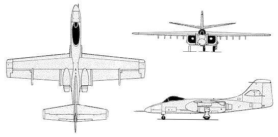 Northrop YA-9A A-9 attack plane 3 view