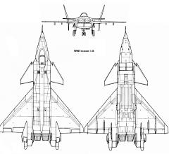 MiG MFI 1.44 3 view demonstrator fighter stealth