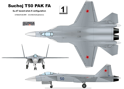Suchoj T-50 PAK FA - Su-47 based what-if Furda Drawings