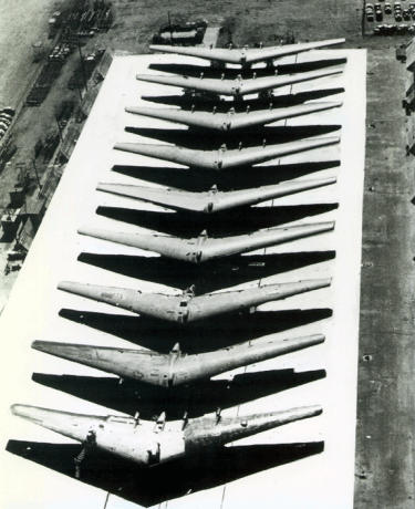 Northrop YB-35 production project NS-9 flying wing airplane bomber