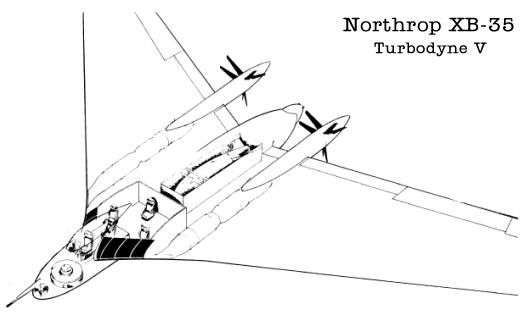 Northrop flying wing design proposal Turbodyne V engines plane aircraft