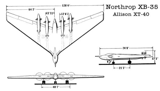 Northrop XB-35 four Allison XT-40 engines flying wing bomber
