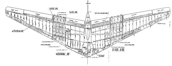 Northrop YB-49 cut internal view flying wing flyingwing bomber aircraft