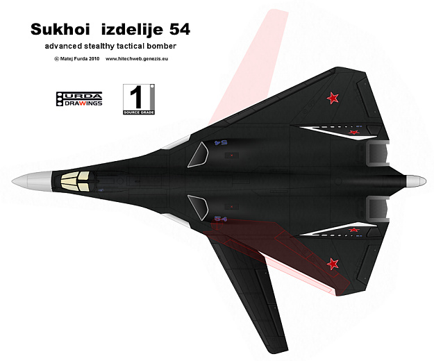 Suchoj Sukhoi T-60 izdelije izdeliye 54 T-54 advanced tactical bomber russian soviet stealth stealthy moderné ruské bombardéry VG wing variable geometry wing console under low observable
