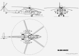 Mil Mi-28 three view