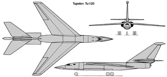 Tupolev Tu-120 120 nuclear powered distance bomber project proposal