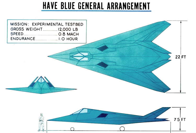 Lockheed Have Blue 3 view XST stealth technology prototype demonstrator Harvey low observable experimental DARPA survivable testbed