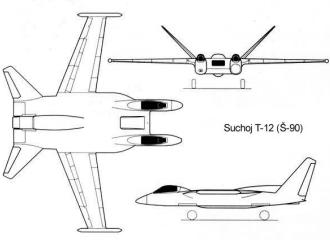 Sukhoi Sh-90 T-12 stealth attack plane aircraft project soviet russian