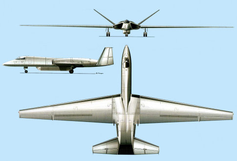 Myasischev M-17RP Mjasiščev MDVS multi-purpose subsonic high-altitude aircraft stealth stealthy soviet russian secret