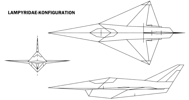 MBB Lampyridae transsonic stealth fighter 3 view Firefly MRMF low observable german project