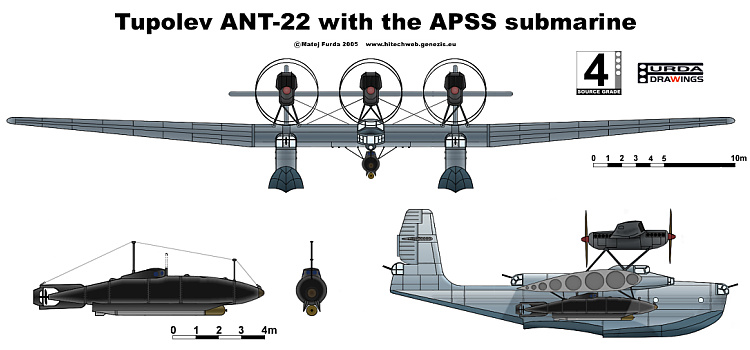 Tupolev ANT-22 with the APSS submarine aircraft hydroplan