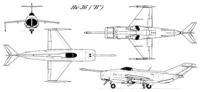 Jak-36 Yak-36 3 view plan VTOL experimental navy attack plane fighter